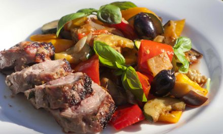 Bradley  Smoked  and  Grilled  Lamb  Neck  Fillet  with  Mediterranean  Vegetables